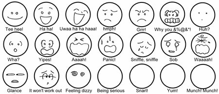 100 words for facial expressions If you want to use words to convey emotion (as in frown, smile etc) here's a link to  daily writing tips for a list of 100 facial expressions and what.