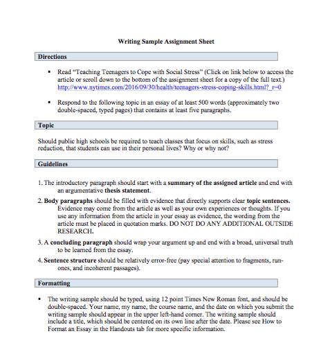 Composing First Impressions: Assigning a Writing Sample in ...